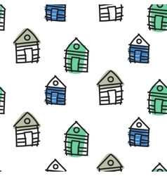 Line houses scandinavian hut ornament hand vector