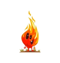 Little fire element nature force monster smiling vector