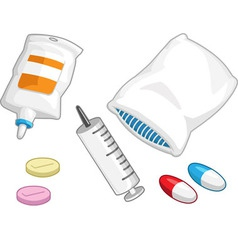 Medical set syringe medicine pill capsule iv drip vector