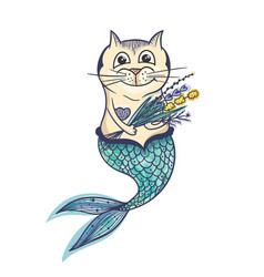 mermaid cat character vector image