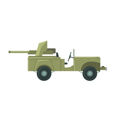 military car with an artillery cannon military vector image