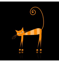 orange striped cat vector image