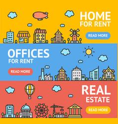 real estate flyer banner posters card set vector image