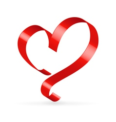 Red satin ribbon heart vector