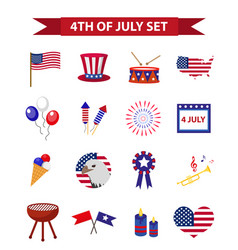 Set of patriotic icons independence day of america vector