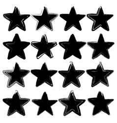 set of sixteen grunge stars vector image