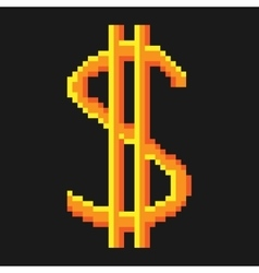 Sign pixel dollar gold 906 vector image vector image