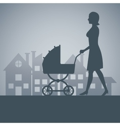 Silhouette mother with carriage baby walking vector