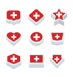 Switzerland flags icons and button set nine styles vector
