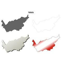 Valais blank detailed outline map set vector