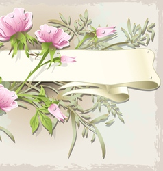 Vintage flower ornament with banner vector
