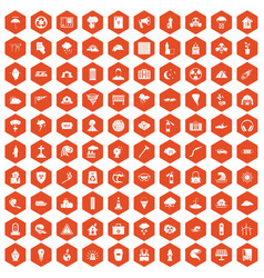 100 disaster icons hexagon orange vector
