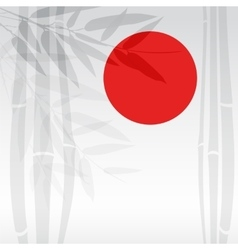 Bamboo trees and red sun on white background vector image