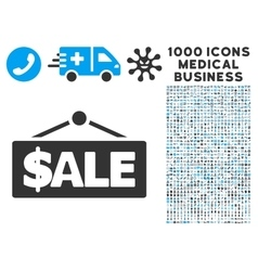 Sale label icon with 1000 medical business symbols vector