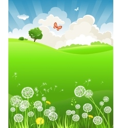 Summer landscape with dandelion vector image