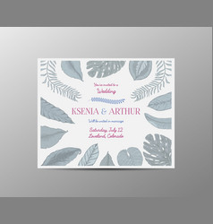 wedding invitation card vintage engraved template vector image