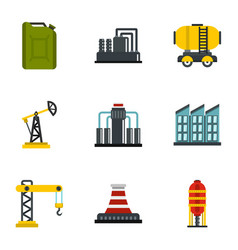 oil and energy resources icons set flat style vector image