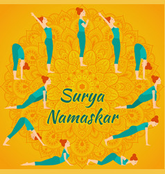 surya namaskar yoga complex sun salutation vector image