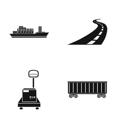 cargo ship railway car scales with box road vector image