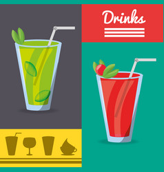 Refreshment smoothies drinks menu restaurant vector