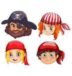 Four faces of pirate crews vector