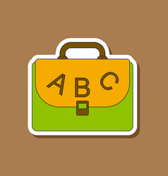 paper sticker on stylish background school bag vector image