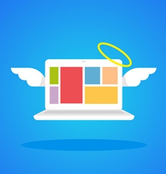 Laptop angel with wings and a halo on a blue vector