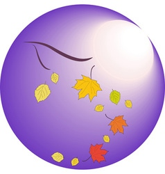 Falling leaves in autumn at moonlight vector