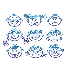 baby cartoon faces vector image