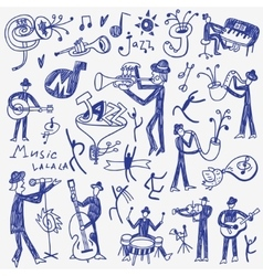 Jazz musicians doodles set vector