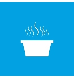 Hot saucepan icon white vector