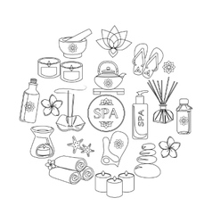 Spa and healthcare outline icons set vector