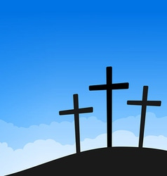three crosses on blue sky vector image