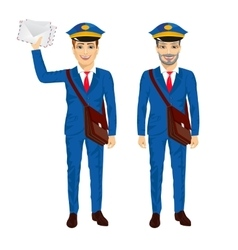 Two postmen with bags posing vector