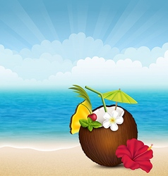 Beach cocktail in coconut vector