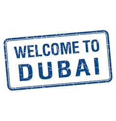 Welcome to dubai blue grunge square stamp vector