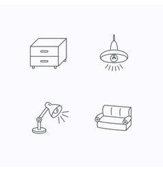 Sofa table lamp and nightstand icons vector