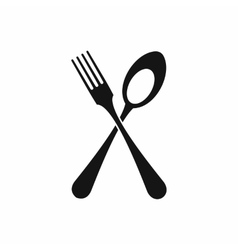 Spoon and fork icon simple style vector