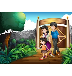 A family inside the gate vector image vector image