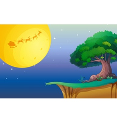 a moon and a tree vector image