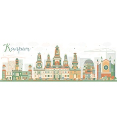 Abstract Kanpur Skyline with Color Buildings vector image vector image