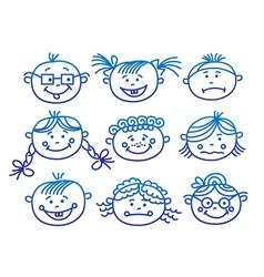 baby cartoon faces vector image