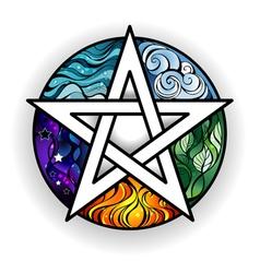 Bright pentagram vector