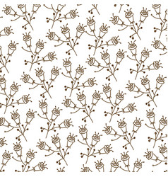Brown silhouette pattern with flowers with stem vector