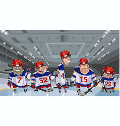 Cartoon team with five funny hockey players on vector