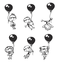 Children with balloons vector image vector image