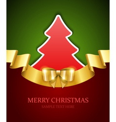 Christmas tree applique and gold bow vector image