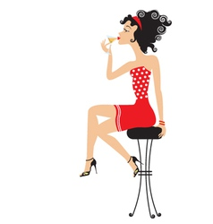 cocktail girl vector image vector image