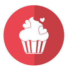 Cup cake love hearts shadow vector