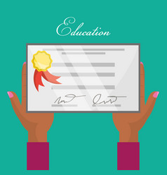 cute diploma of graduation in the hands vector image vector image